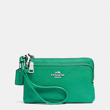 5d7ff90e8eff COACH f52380 DOUBLE L-ZIP WRISTLET IN EMBOSSED TEXTURED LEATHER SILVER/JADE