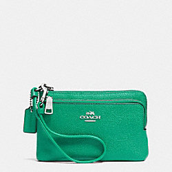 COACH F52380 Double L-zip Wristlet In Embossed Textured Leather SILVER/JADE