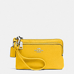 COACH F52380 Double L-zip Wristlet In Embossed Textured Leather SILVER/YELLOW