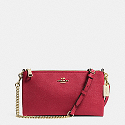 COACH F52385 - KYLIE CROSSBODY IN EMBOSSED TEXTURED LEATHER  LIGHT GOLD/RED CURRANT