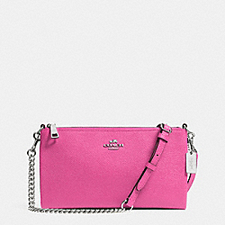 COACH F52385 - KYLIE CROSSBODY IN EMBOSSED TEXTURED LEATHER SILVER/FUCHSIA