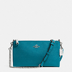 COACH F52385 Kylie Crossbody In Embossed Textured Leather SILVER/TEAL