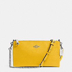 COACH F52385 - HERALD CROSSBODY IN CROSSGRAIN LEATHER  SILVER/YELLOW