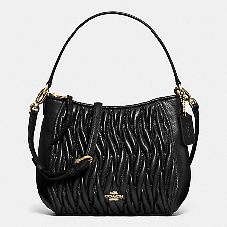 COACH F52387 TOP HANDLE IN GATHERED LEATHER LIGHT-GOLD/BLACK