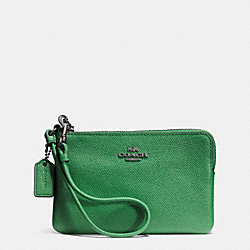 COACH F52392 Corner Zip Wristlet In Signature DARK GUNMETAL/GRASS