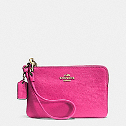 COACH F52392 Embossed Small L-zip Wristlet In Leather LIGHT GOLD/PINK RUBY