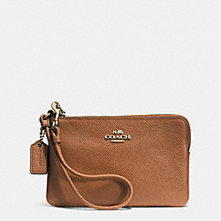 COACH F52392 Corner Zip Wristlet In Signature LIGHT GOLD/SADDLE