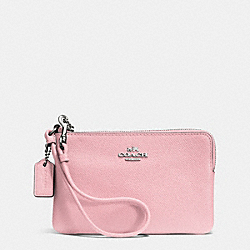 COACH F52392 Embossed Small L-zip Wristlet In Leather SILVER/PETAL