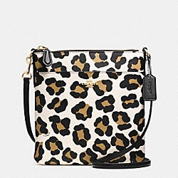 NORTH/SOUTH SWINGPACK IN OCELOT PRINT LEATHER - f52393 -  LIGHT GOLD/WHITE MULTICOLOR