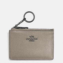 COACH F52394 Mini Skinny In Embossed Textured Leather DARK GUNMETAL/FOG