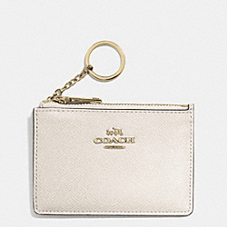 COACH F52394 Mini Skinny In Embossed Textured Leather  LIGHT GOLD/CHALK
