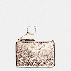 COACH F52394 - MINI SKINNY ID CASE IN CROSSGRAIN LEATHER LIGHT GOLD/PLATINUM