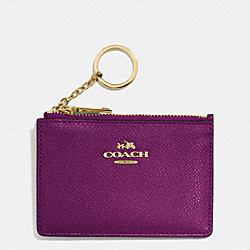 COACH F52394 Mini Skinny In Crossgrain Leather LIGHT GOLD/PLUM