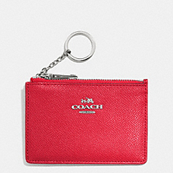 COACH F52394 Mini Skinny In Embossed Textured Leather SILVER/TRUE RED
