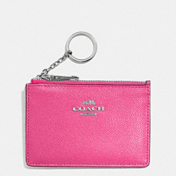 COACH F52394 Mini Skinny In Embossed Textured Leather SILVER/DAHLIA