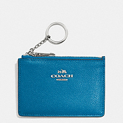 COACH F52394 Mini Skinny In Embossed Textured Leather SILVER/PEACOCK