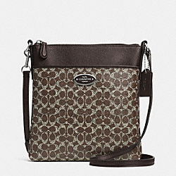 COACH F52400 North/south Swingpack In Signature  SILVER/BROWN/BROWN