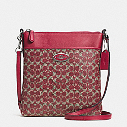 COACH F52400 - NORTH/SOUTH SWINGPACK IN SIGNATURE  SILVER/RED/RED