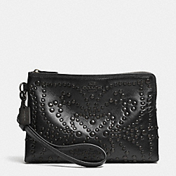 COACH F52402 Mini Studs Large Wristlet In Leather ANTIQUE NICKEL/BLACK