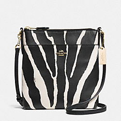 COACH F52409 North/south Swingpack In Zebra Print Leather  LIGHT GOLD/BLACK WHITE
