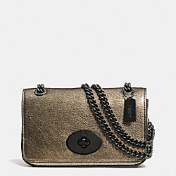 COACH F52412 - MINI CHAIN CROSSBODY IN METALLIC LEATHER  VA/BRASS
