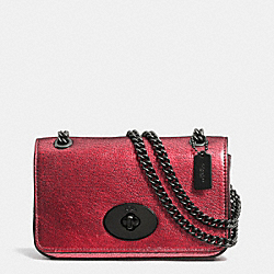 COACH F52412 - MINI CHAIN CROSSBODY IN METALLIC LEATHER  VA/RED