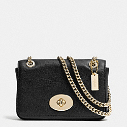 COACH F52413 Mini Chain Crossbody In Leather  LIGHT GOLD/BLACK