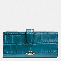 COACH F52418 Skinny Wallet In Croc Embossed Leather LIGHT GOLD/TEAL