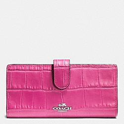 COACH F52418 Skinny Wallet In Croc Embossed Leather SILVER/HOT PINK