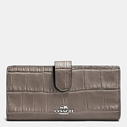 COACH F52418 Skinny Wallet In Croc Embossed Leather SILVER/MINK