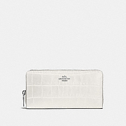 COACH F52424 - ACCORDION ZIP WALLET IN CROCODILE EMBOSSED LEATHER SILVER/CHALK