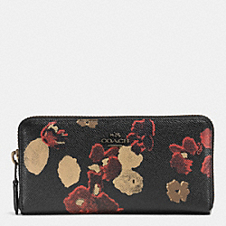 COACH F52426 Accordion Zip Wallet In Floral Print Leather BURNISHED ANTIQUE NICKEL/BLACK MULTI