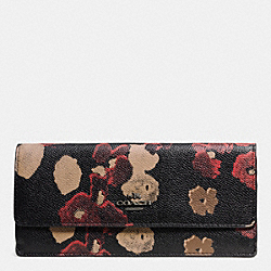 COACH F52430 Soft Wallet In Floral Print Leather  BN/BLACK MULTI