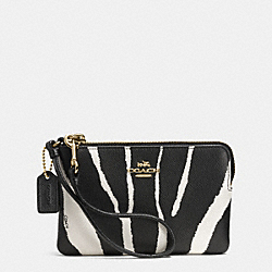 COACH F52435 Small L-zip Wristlet In Zebra Embossed Leather LIGHT GOLD/BLACK WHITE