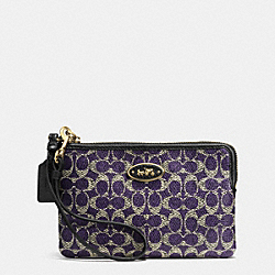 COACH F52436 Small L-zip Wristlet In Signature LIGHT GOLD/VIOLET/BLACK