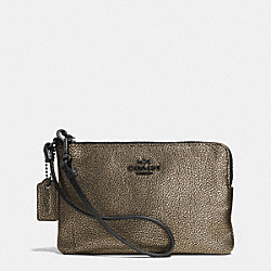 COACH F52444 Small L-zip Wristlet In Metallic Leather  VA/BRASS