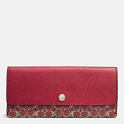 COACH F52448 Soft Wallet In Signature SILVER/RED/RED
