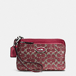 COACH F52455 L-zip Wristlet In Signature SILVER/RED/RED