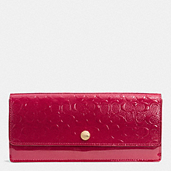 COACH F52458 Soft Wallet In Logo Embossed Patent Leather  LIGHT GOLD/RED