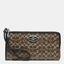 COACH F52462 L-zip Wallet In Signature DARK NICKEL/BROWN/BLACK