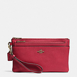 COACH F52468 Large Wristlet With Pop-up Pouch In Embossed Textured Leather LIGHT GOLD/RED CURRANT