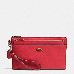 COACH F52468 Large Wristlet With Pop-up Pouch In Embossed Textured Leather LIGHT GOLD/RED