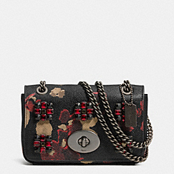 COACH F52473 - MINI CHAIN CROSSBODY IN JEWELED FLORAL PRINT LEATHER  BN/BLACK MULTI