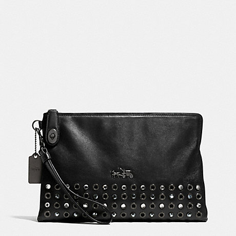 COACH F52476 JEWELS AND GROMMETS LARGE POUCH CLUTCH IN LEATHER BURNISHED-ANTIQUE-BRASS/BLACK
