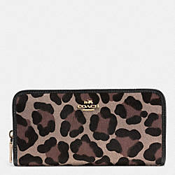 COACH F52497 Accordion Zip Wallet In Printed Haircalf  LIGHT GOLD/BROWN MULTI