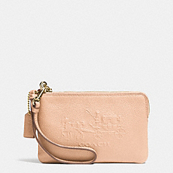 COACH F52500 Embossed Horse And Carriage Small L-zip Wristlet In Leather LIGHT GOLD/APRICOT