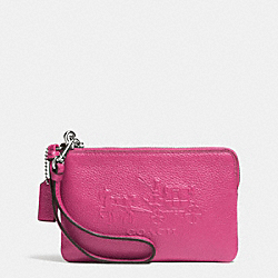 COACH F52500 Embossed Horse And Carriage Small L-zip Wristlet In Leather  SILVER/FUCHSIA