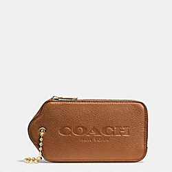 COACH F52507 Hangtag Mulitifunction Case In Leather LIGHT GOLD/SADDLE