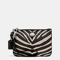 COACH F52529 Peyton Zebra Print Small Wristlet SILVER/BLACK