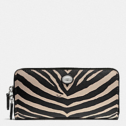 COACH F52530 Peyton Zebra Print Accordion Zip Wallet SILVER/BLACK
